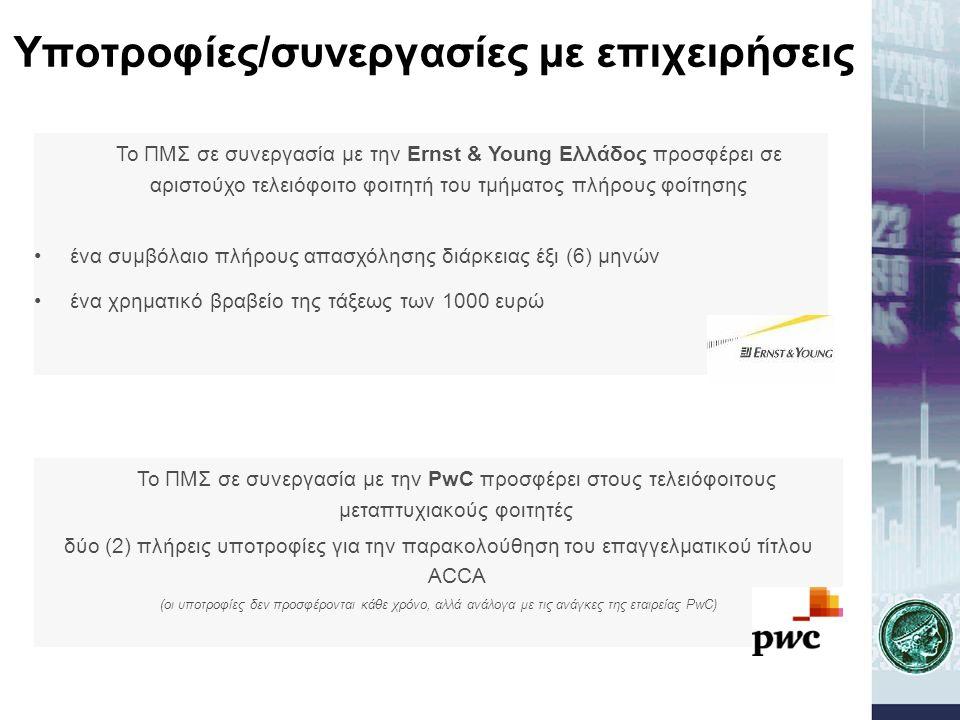 Υποτροφίες/συνεργασίες με επιχειρήσεις Το ΠΜΣ σε συνεργασία με την Ernst & Young Ελλάδος προσφέρει σε αριστούχο τελειόφοιτο φοιτητή του τμήματος πλήρο
