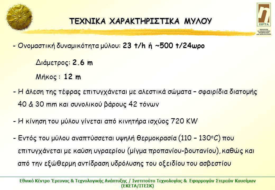 Εθνικό Κέντρο Έρευνας & Τεχνολογικής Ανάπτυξης / Ινστιτούτο Τεχνολογίας & Εφαρμογών Στερεών Καυσίμων (ΕΚΕΤΑ/ΙΤΕΣΚ) ΤΕΧΝΙΚΑ ΧΑΡΑΚΤΗΡΙΣΤΙΚΑ ΜΥΛΟΥ - Ονομαστική δυναμικότητα μύλου: 23 t/h ή ~500 t/24ωρο Διάμετρος: 2.6 m Μήκος : 12 m - Η άλεση της τέφρας επιτυγχάνεται με αλεστικά σώματα – σφαιρίδια διατομής 40 & 30 mm και συνολικού βάρους 42 τόνων - Η κίνηση του μύλου γίνεται από κινητήρα ισχύος 720 KW - Εντός του μύλου αναπτύσσεται υψηλή θερμοκρασία (110 – 130 ο C) που επιτυγχάνεται με καύση υγραερίου (μίγμα προπανίου-βουτανίου), καθώς και από την εξώθερμη αντίδραση υδρόλυσης του οξειδίου του ασβεστίου