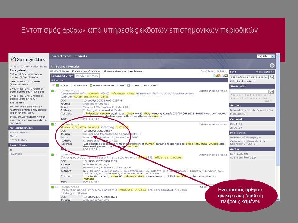 Εντοπισμός άρθρων από υπηρεσίες εκδοτών επιστημονικών περιοδικών Εντοπισμός άρθρου, ηλεκτρονική διάθεση πλήρους κειμένου