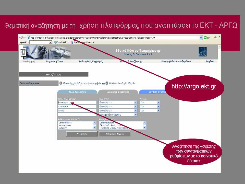 Θεματική αναζήτηση με τη χρήση πλατφόρμας που αναπτύσσει το ΕΚΤ - ΑΡΓΩ Αναζήτηση της «σχέσης των συνταγματικών ρυθμίσεων με το κοινοτικό δίκαιο» http://argo.ekt.gr