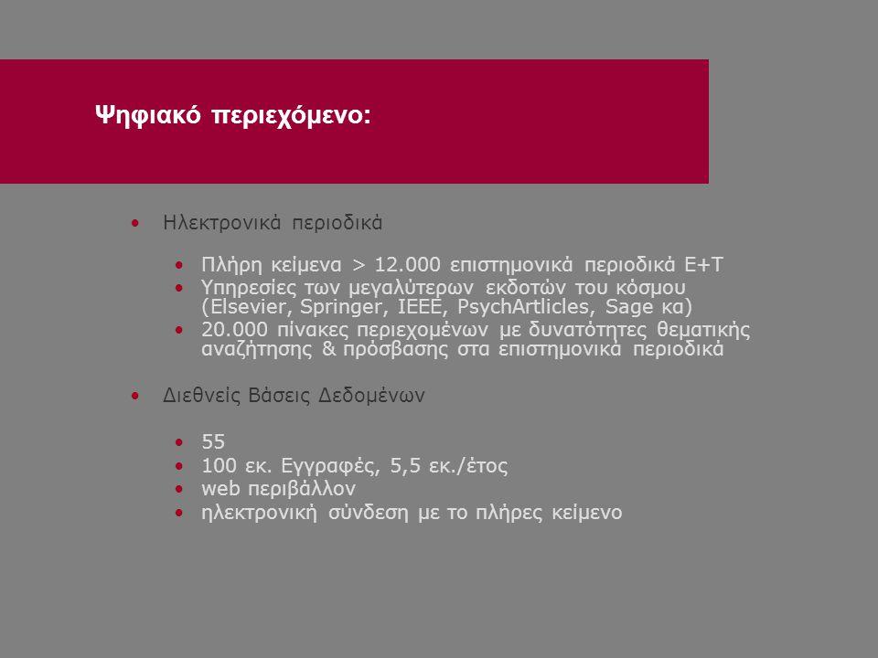 •Ηλεκτρονικά περιοδικά •Πλήρη κείμενα > 12.000 επιστημονικά περιοδικά Ε+Τ •Υπηρεσίες των μεγαλύτερων εκδοτών του κόσμου (Elsevier, Springer, IEEE, PsychArtlicles, Sage κα) •20.000 πίνακες περιεχομένων με δυνατότητες θεματικής αναζήτησης & πρόσβασης στα επιστημονικά περιοδικά •Διεθνείς Βάσεις Δεδομένων •55 •100 εκ.