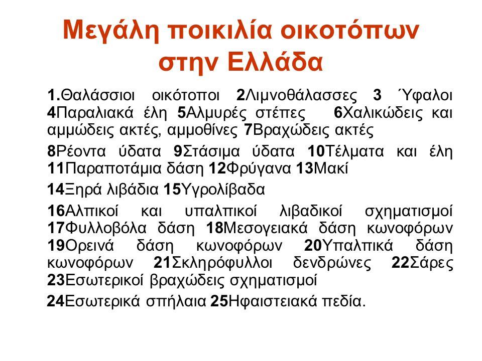 Μεγάλη ποικιλία οικοτόπων στην Ελλάδα 1.Θαλάσσιοι οικότοποι 2Λιμνοθάλασσες 3 Ύφαλοι 4Παραλιακά έλη 5Αλμυρές στέπες 6Χαλικώδεις και αμμώδεις ακτές, αμμ