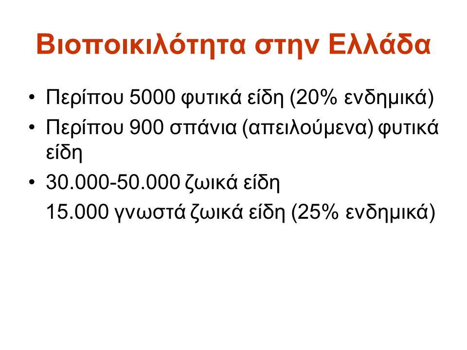 Βιοποικιλότητα στην Ελλάδα •Περίπου 5000 φυτικά είδη (20% ενδημικά) •Περίπου 900 σπάνια (απειλούμενα) φυτικά είδη •30.000-50.000 ζωικά είδη 15.000 γνω