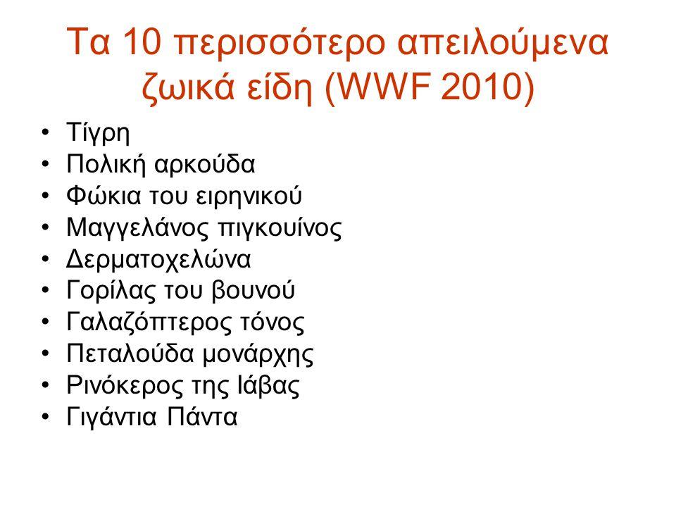 Τα 10 περισσότερο απειλούμενα ζωικά είδη (WWF 2010) •Τίγρη •Πολική αρκούδα •Φώκια του ειρηνικού •Μαγγελάνος πιγκουίνος •Δερματοχελώνα •Γορίλας του βου