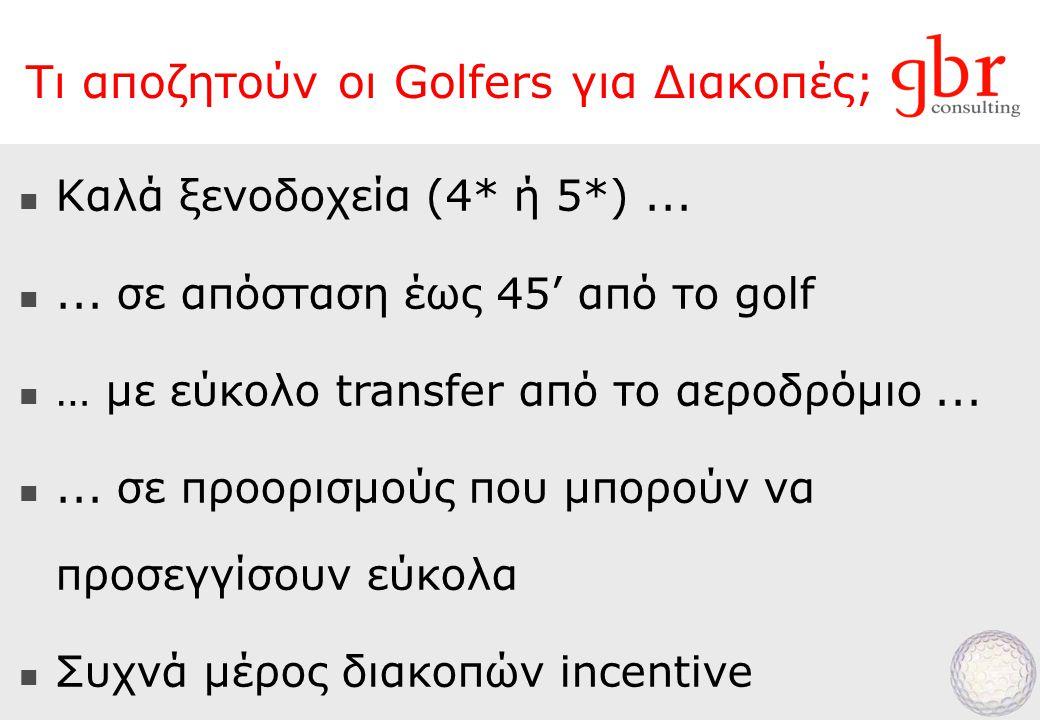Τι αποζητούν οι Golfers για Διακοπές;  Καλά ξενοδοχεία (4* ή 5*)...