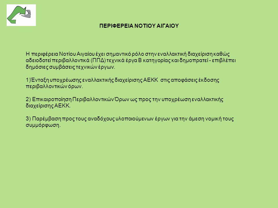 ΠΕΡΙΦΕΡΕΙΑ ΝΟΤΙΟΥ ΑΙΓΑΙΟΥ Η περιφέρεια Νοτίου Αιγαίου έχει σημαντικό ρόλο στην εναλλακτική διαχείριση καθώς αδειοδοτεί περιβαλλοντικά (ΠΠΔ) τεχνικά έρ