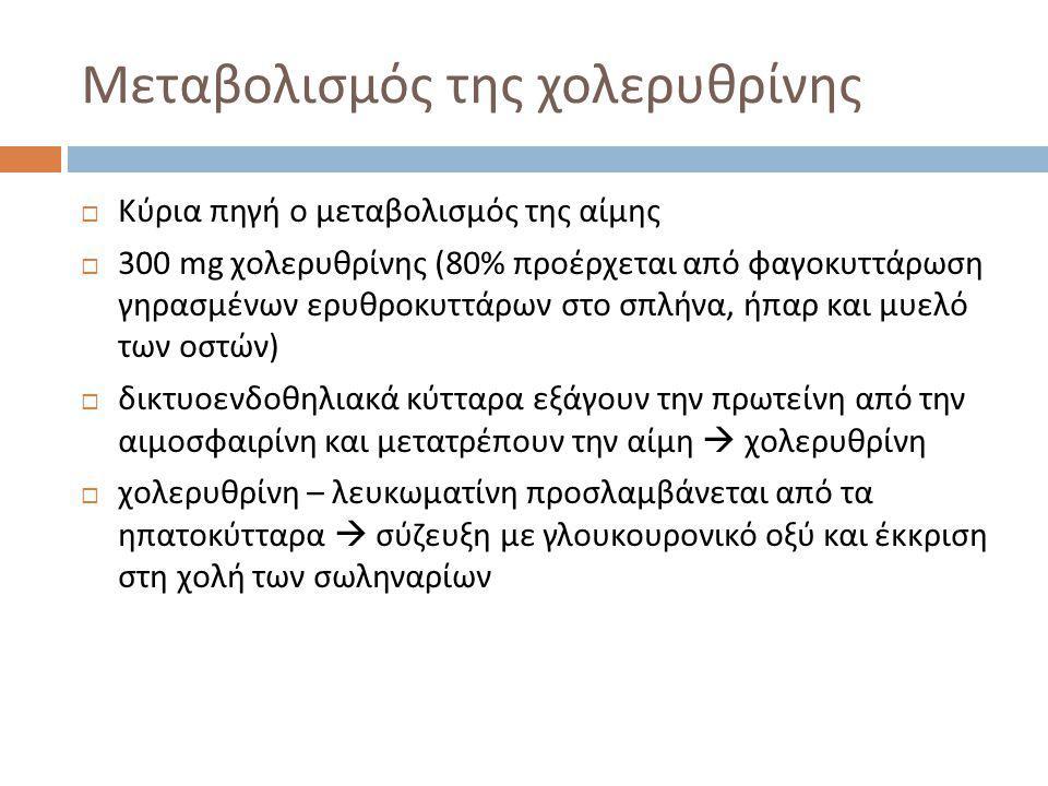 Μεταβολισμός της χολερυθρίνης  Κύρια πηγή ο μεταβολισμός της αίμης  300 mg χολερυθρίνης (80% προέρχεται από φαγοκυττάρωση γηρασμένων ερυθροκυττάρων