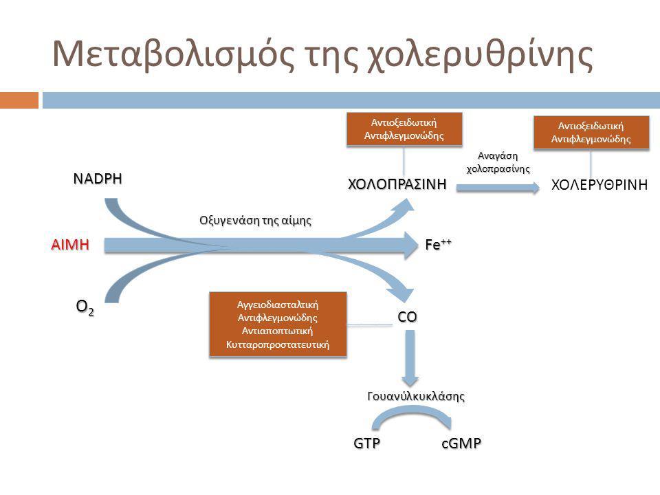 Μεταβολισμός της χολερυθρίνης ΑΙΜΗ Fe ++ ΧΟΛΟΠΡΑΣΙΝΗ ΧΟΛΕΡΥΘΡΙΝΗ CO NADPH O2O2O2O2 Οξυγενάση της αίμης Αναγάσηχολοπρασίνης GTPcGMP Γουανύλκυκλάσης Αντιοξειδωτική Αντιφλεγμονώδης Αντιοξειδωτική Αντιφλεγμονώδης Αντιοξειδωτική Αντιφλεγμονώδης Αντιοξειδωτική Αντιφλεγμονώδης Αγγειοδιασταλτική Αντιφλεγμονώδης Αντιαποπτωτική Κυτταροπροστατευτική Αγγειοδιασταλτική Αντιφλεγμονώδης Αντιαποπτωτική Κυτταροπροστατευτική