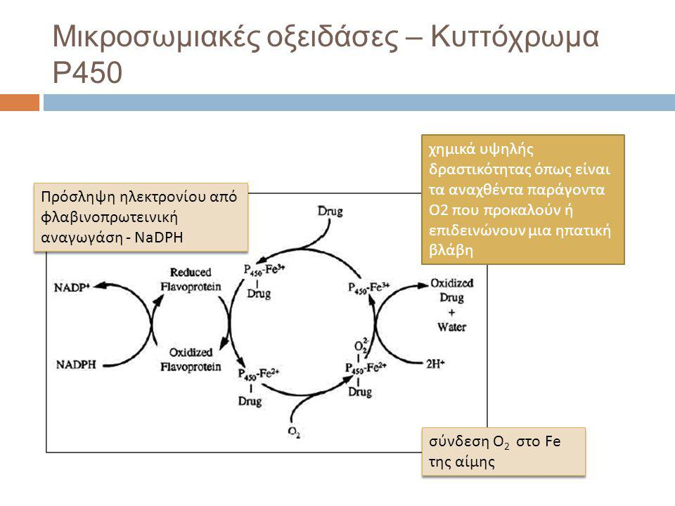 Μικροσωμιακές οξειδάσες – Κυττόχρωμα P450 σύνδεση Ο 2 στο Fe της αίμης Πρόσληψη ηλεκτρονίου από φλαβινοπρωτεινική αναγωγάση - NaDPH χημικά υψηλής δραστικότητας όπως είναι τα αναχθέντα παράγοντα Ο2 που προκαλούν ή επιδεινώνουν μια ηπατική βλάβη