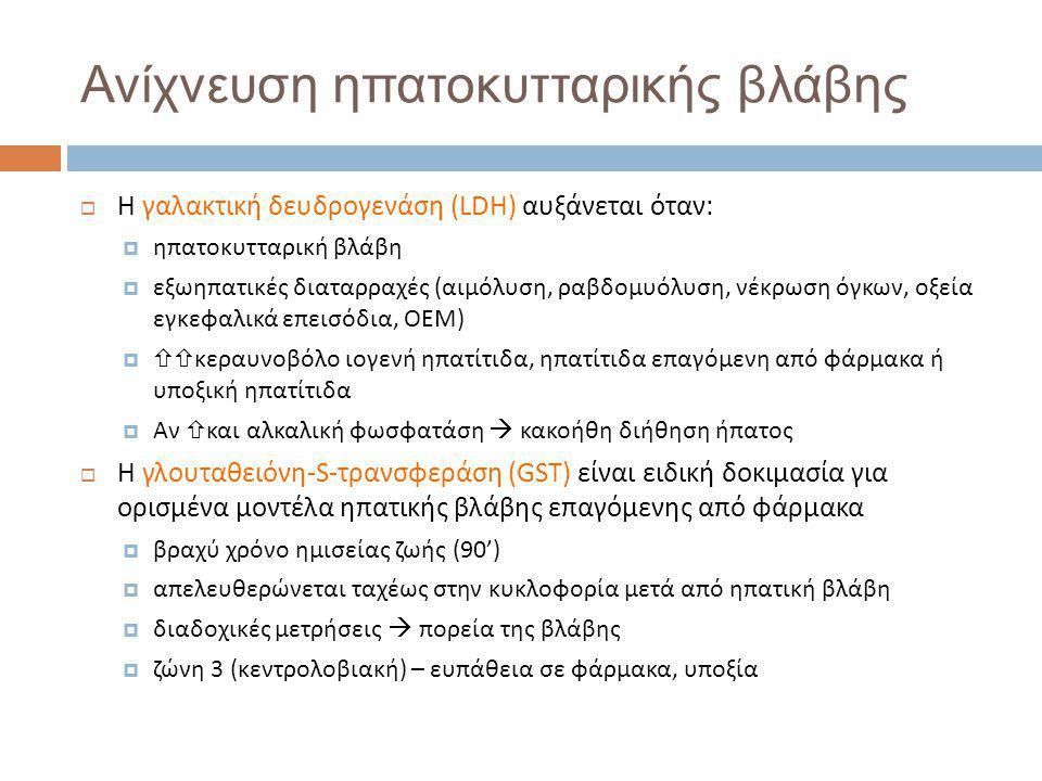Ανίχνευση ηπατοκυτταρικής βλάβης  Η γαλακτική δευδρογενάση (LDH) αυξάνεται όταν:  ηπατοκυτταρική βλάβη  εξωηπατικές διαταρραχές (αιμόλυση, ραβδομυόλυση, νέκρωση όγκων, οξεία εγκεφαλικά επεισόδια, ΟΕΜ)   κεραυνοβόλο ιογενή ηπατίτιδα, ηπατίτιδα επαγόμενη από φάρμακα ή υποξική ηπατίτιδα  Αν  και αλκαλική φωσφατάση  κακοήθη διήθηση ήπατος  Η γλουταθειόνη-S-τρανσφεράση (GST) είναι ειδική δοκιμασία για ορισμένα μοντέλα ηπατικής βλάβης επαγόμενης από φάρμακα  βραχύ χρόνο ημισείας ζωής (90')  απελευθερώνεται ταχέως στην κυκλοφορία μετά από ηπατική βλάβη  διαδοχικές μετρήσεις  πορεία της βλάβης  ζώνη 3 (κεντρολοβιακή) – ευπάθεια σε φάρμακα, υποξία