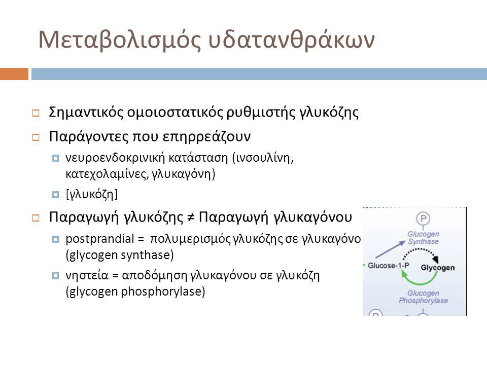 Μεταβολισμός υδατανθράκων  >24 ώρες ή παρατεταμένη άσκηση:  ΗΠΑΤΙΚΗ ΝΕΟΓΛΥΚΟΓΕΝΕΣΗ από:  γαλακτικό  γλυκερόλη (προϊόν υδρόλυσης τριγλυκεριδίων)  γλυκογενικά αμινοξέα (αλανίνη, γλουταμίνη)  ΡΥΘΜΙΣΤΕΣ  γλυκαγόνη  κατεχολαμίνες  ινσουλίνη