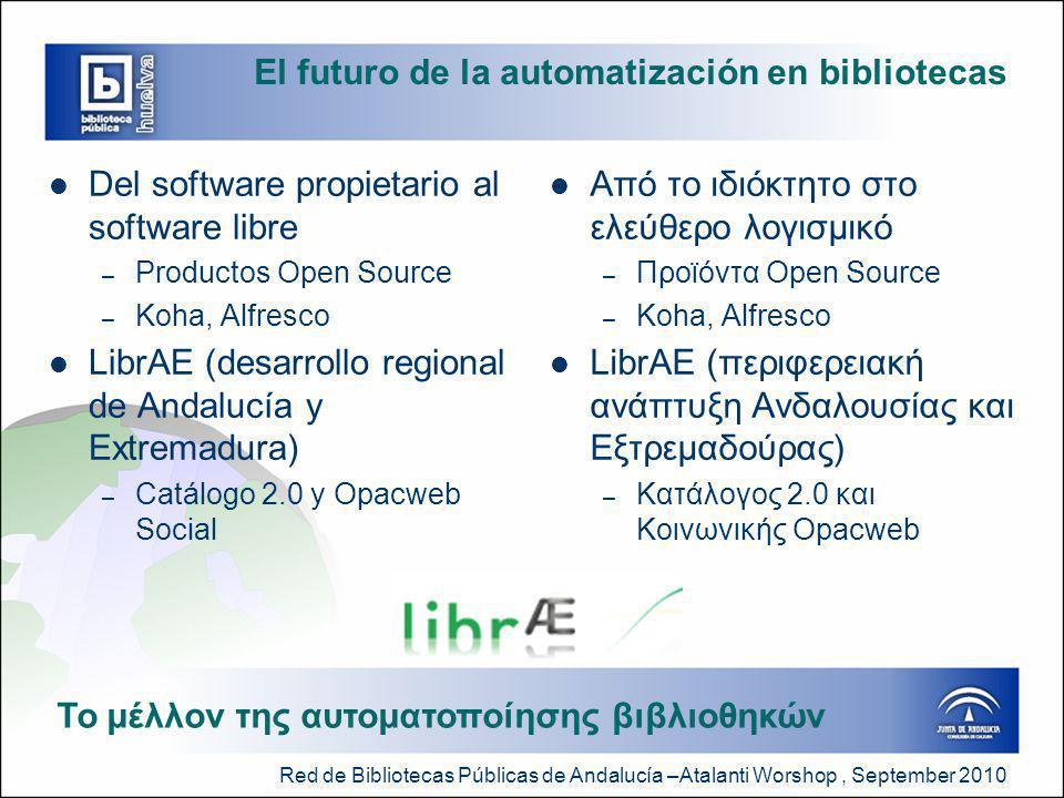 Red de Bibliotecas Públicas de Andalucía –Atalanti Worshop, September 2010 El futuro de la automatización en bibliotecas  Del software propietario al software libre – Productos Open Source – Koha, Alfresco  LibrAE (desarrollo regional de Andalucía y Extremadura) – Catálogo 2.0 y Opacweb Social  Από το ιδιόκτητο στο ελεύθερο λογισμικό – Προϊόντα Open Source – Koha, Alfresco  LibrAE (περιφερειακή ανάπτυξη Ανδαλουσίας και Εξτρεμαδούρας) – Κατάλογος 2.0 και Κοινωνικής Opacweb Το μέλλον της αυτοματοποίησης βιβλιοθηκών