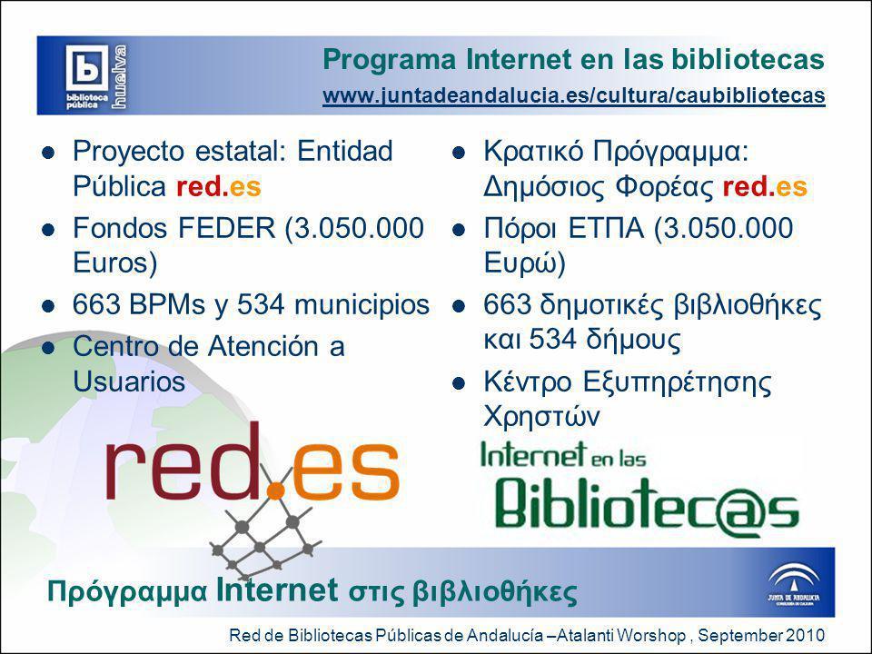 Red de Bibliotecas Públicas de Andalucía –Atalanti Worshop, September 2010 Programa Internet en las bibliotecas www.juntadeandalucia.es/cultura/caubibliotecas  Proyecto estatal: Entidad Pública red.es  Fondos FEDER (3.050.000 Euros)  663 BPMs y 534 municipios  Centro de Atención a Usuarios  Κρατικό Πρόγραμμα: Δημόσιος Φορέας red.es  Πόροι ΕΤΠΑ (3.050.000 Ευρώ)  663 δημοτικές βιβλιοθήκες και 534 δήμους  Κέντρο Εξυπηρέτησης Χρηστών Πρόγραμμα Internet στις βιβλιοθήκες
