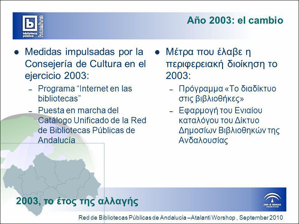 Red de Bibliotecas Públicas de Andalucía –Atalanti Worshop, September 2010 Año 2003: el cambio  Medidas impulsadas por la Consejería de Cultura en el ejercicio 2003: – Programa Internet en las bibliotecas – Puesta en marcha del Catálogo Unificado de la Red de Bibliotecas Públicas de Andalucía  Μέτρα που έλαβε η περιφερειακή διοίκηση το 2003: – Πρόγραμμα «Το διαδίκτυο στις βιβλιοθήκες» – Εφαρμογή του Ενιαίου καταλόγου του Δίκτυο Δημοσίων Βιβλιοθηκών της Ανδαλουσίας 2003, το έτος της αλλαγής