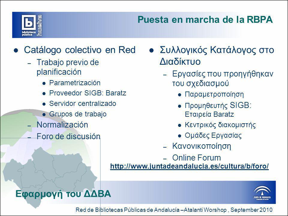 Red de Bibliotecas Públicas de Andalucía –Atalanti Worshop, September 2010 Puesta en marcha de la RBPA  Catálogo colectivo en Red – Trabajo previo de planificación  Parametrización  Proveedor SIGB: Baratz  Servidor centralizado  Grupos de trabajo – Normalización – Foro de discusión  Συλλογικός Κατάλογος στο Διαδίκτυο – Εργασίες που προηγήθηκαν του σχεδιασμού  Παραμετροποίηση  Προμηθευτής SIGB: Εταιρεία Baratz  Κεντρικός διακομιστής  Ομάδες Εργασίας – Κανονικοποίηση – Online Forum Εφαρμογή του ΔΔΒΑ http://www.juntadeandalucia.es/cultura/b/foro/
