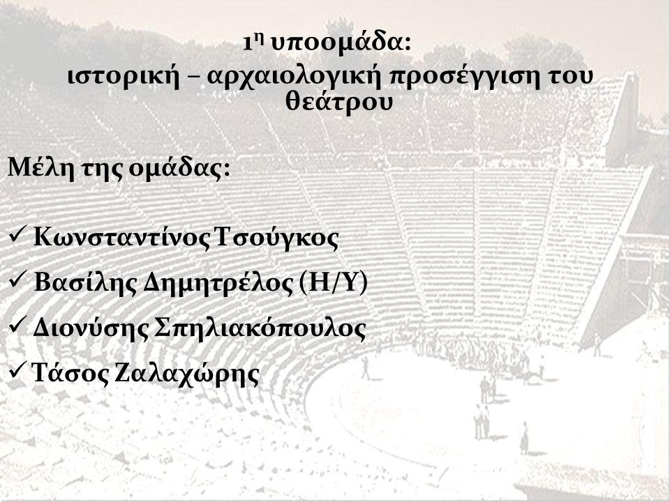 Μέλη της ομάδας:  Κωνσταντίνος Τσούγκος  Βασίλης Δημητρέλος (Η/Υ)  Διονύσης Σπηλιακόπουλος  Τάσος Ζαλαχώρης 1 η υποομάδα: ιστορική – αρχαιολογική