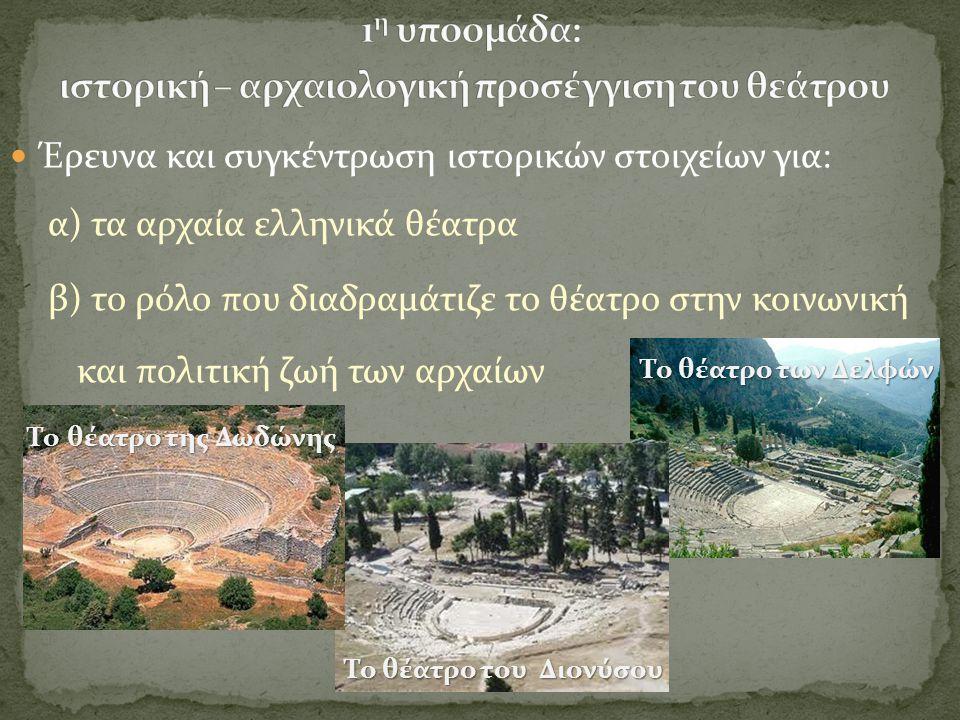  Έρευνα και συγκέντρωση ιστορικών στοιχείων για: α) τα αρχαία ελληνικά θέατρα β) το ρόλο που διαδραμάτιζε το θέατρο στην κοινωνική και πολιτική ζωή τ