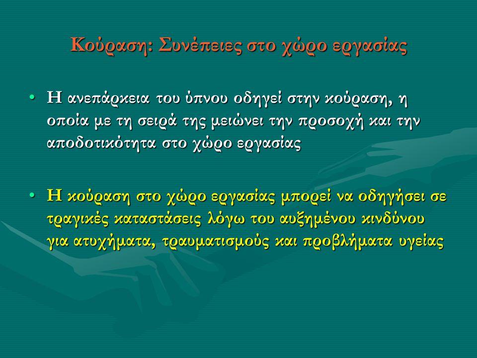 Κούραση: Συνέπειες στο χώρο εργασίας •Η ανεπάρκεια του ύπνου οδηγεί στην κούραση, η οποία με τη σειρά της μειώνει την προσοχή και την αποδοτικότητα στο χώρο εργασίας •Η κούραση στο χώρο εργασίας μπορεί να οδηγήσει σε τραγικές καταστάσεις λόγω του αυξημένου κινδύνου για ατυχήματα, τραυματισμούς και προβλήματα υγείας