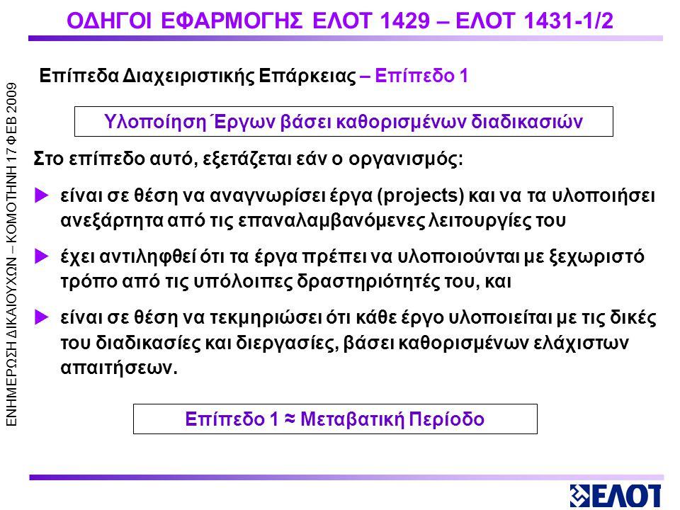 ΕΝΗΜΕΡΩΣΗ ΔΙΚΑΙΟΥΧΩΝ – KOMOTHNH 17 ΦΕΒ 2009 ΟΔΗΓΟΙ ΕΦΑΡΜΟΓΗΣ ΕΛΟΤ 1429