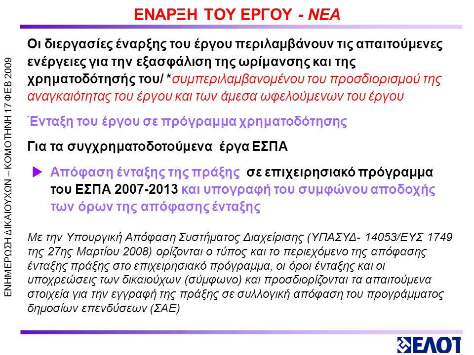 ΕΝΗΜΕΡΩΣΗ ΔΙΚΑΙΟΥΧΩΝ – KOMOTHNH 17 ΦΕΒ 2009 ΥΛΟΠΟΙΗΣΗ ΕΡΓΟΥ 7.1 Έναρξη του έργου 7.2 Σχεδιασμός εκτέλεσης και παρακολούθησης της εκτέλεσης του έργου (γενικά) 7.3 Σχεδιασμός εκτέλεσης με ίδια μέσα ή ανάθεσης συμβάσεων και διενέργειας δημόσιου διαγωνισμού 7.4 Εκτέλεση και παρακολούθηση της εκτέλεσης του έργου 7.5 Κλείσιμο του έργου