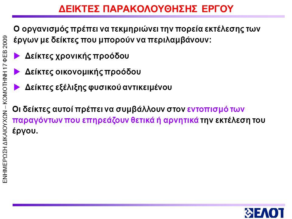 ΕΝΗΜΕΡΩΣΗ ΔΙΚΑΙΟΥΧΩΝ – KOMOTHNH 17 ΦΕΒ 2009 ΧΡΟΝΟΔΙΑΓΡΑΜΜΑ ΕΡΓΟΥ  Διαμορφώνει χρονοδιάγραμμα  Προσδιορίζει τους απαιτούμενους πόρους για κάθε δραστηριότητα, όπου απαιτείται  Σχεδιάζει την παρακολούθηση του χρονοδιαγράμματος Ο οργανισμός πρέπει να: