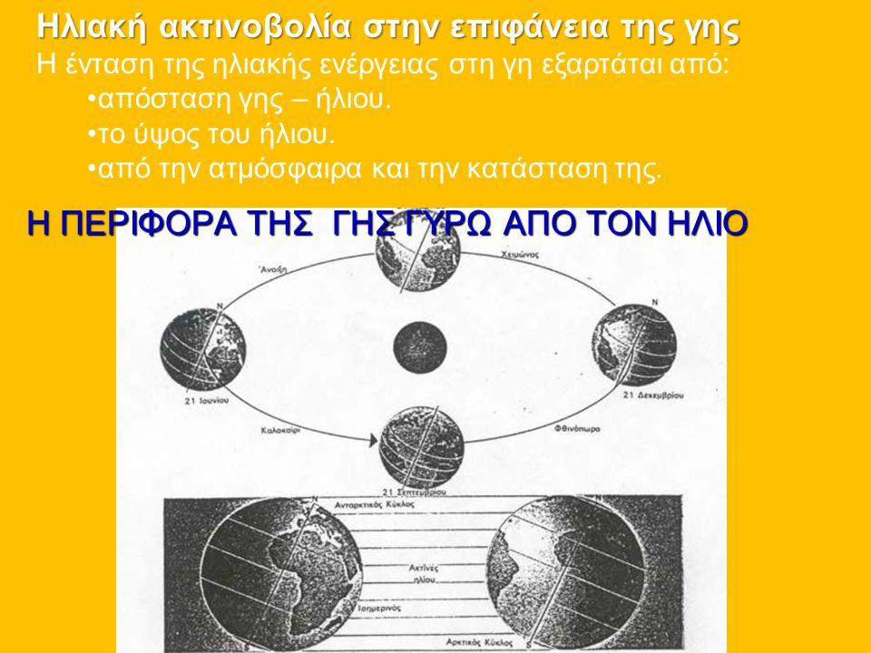 Η ΠΕΡΙΦΟΡΑ ΤΗΣ ΓΗΣ ΓΥΡΩ ΑΠΟ ΤΟΝ ΗΛΙΟ Ηλιακή ακτινοβολία στην επιφάνεια της γης Η ένταση της ηλιακής ενέργειας στη γη εξαρτάται από: • •απόσταση γης –