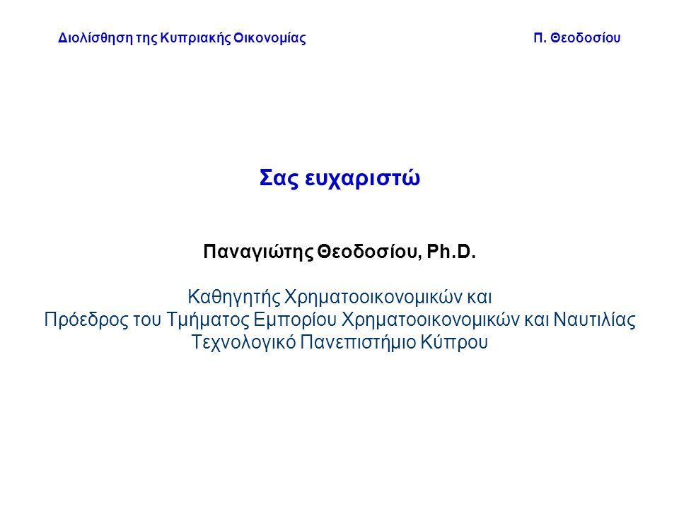 Διολίσθηση της Κυπριακής Οικονομίας Π. Θεοδοσίου Σας ευχαριστώ Παναγιώτης Θεοδοσίου, Ph.D.
