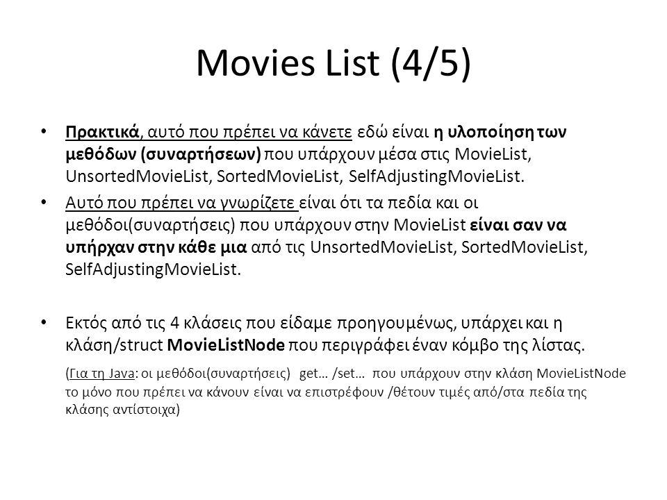 Movies List (4/5) • Πρακτικά, αυτό που πρέπει να κάνετε εδώ είναι η υλοποίηση των μεθόδων (συναρτήσεων) που υπάρχουν μέσα στις MovieList, UnsortedMovieList, SortedMovieList, SelfAdjustingMovieList.
