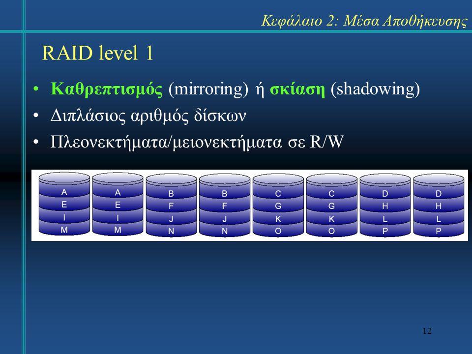 12 Κεφάλαιο 2: Μέσα Αποθήκευσης •Καθρεπτισμός (mirroring) ή σκίαση (shadowing) •Διπλάσιος αριθμός δίσκων •Πλεονεκτήματα/μειονεκτήματα σε R/W RAID leve