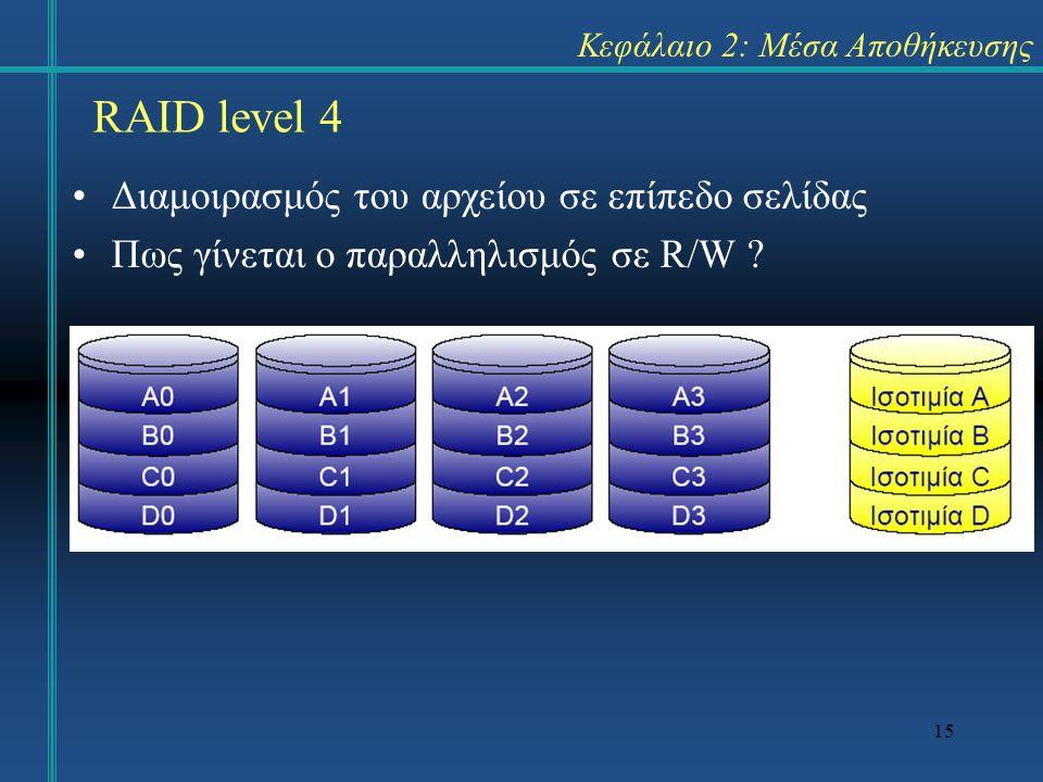 15 Κεφάλαιο 2: Μέσα Αποθήκευσης •Διαμοιρασμός του αρχείου σε επίπεδο σελίδας •Πως γίνεται ο παραλληλισμός σε R/W ? RAID level 4