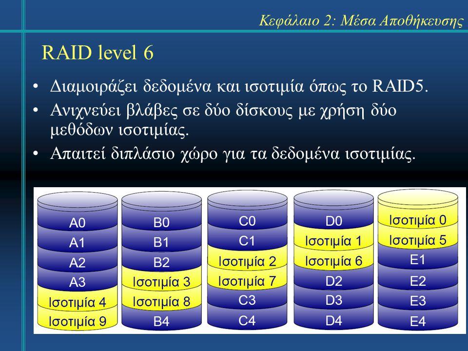 17 Κεφάλαιο 2: Μέσα Αποθήκευσης •Διαμοιράζει δεδομένα και ισοτιμία όπως το RAID5. •Ανιχνεύει βλάβες σε δύο δίσκους με χρήση δύο μεθόδων ισοτιμίας. •Απ