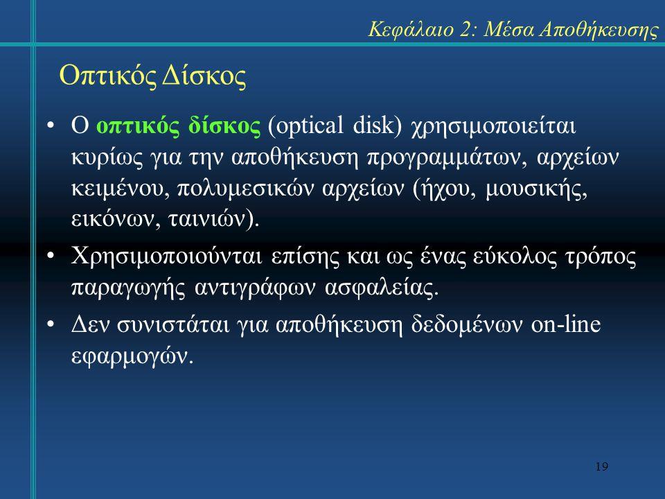 19 Κεφάλαιο 2: Μέσα Αποθήκευσης •Ο οπτικός δίσκος (optical disk) χρησιμοποιείται κυρίως για την αποθήκευση προγραμμάτων, αρχείων κειμένου, πολυμεσικών