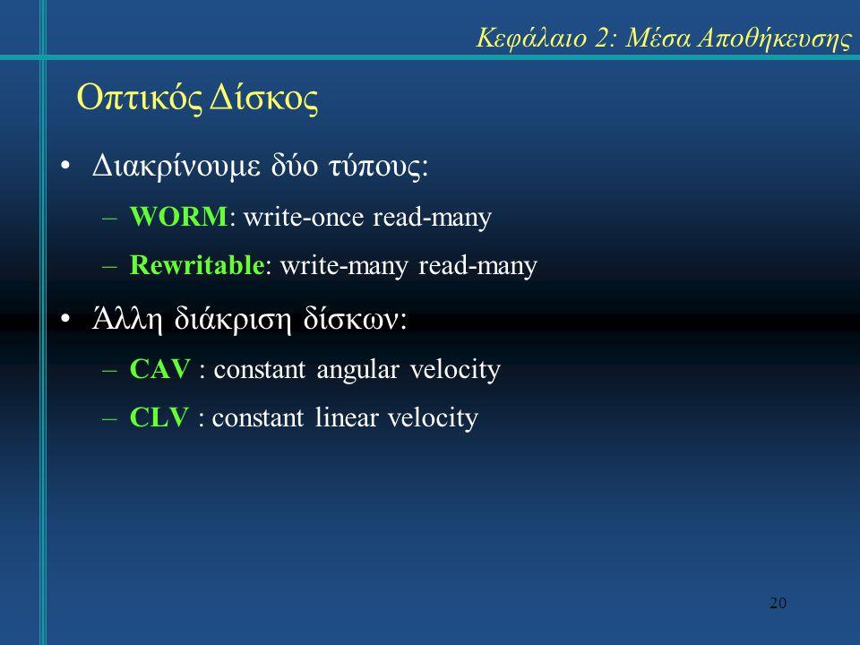 20 Κεφάλαιο 2: Μέσα Αποθήκευσης •Διακρίνουμε δύο τύπους: –WORM: write-once read-many –Rewritable: write-many read-many •Άλλη διάκριση δίσκων: –CAV : c