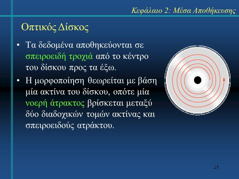 25 Κεφάλαιο 2: Μέσα Αποθήκευσης •Τα δεδομένα αποθηκεύονται σε σπειροειδή τροχιά από το κέντρο του δίσκου προς τα έξω. •Η μορφοποίηση θεωρείται με βάση