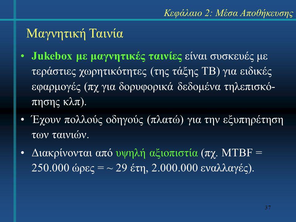 37 Κεφάλαιο 2: Μέσα Αποθήκευσης •Jukebox με μαγνητικές ταινίες είναι συσκευές με τεράστιες χωρητικότητες (της τάξης TB) για ειδικές εφαρμογές (πχ για
