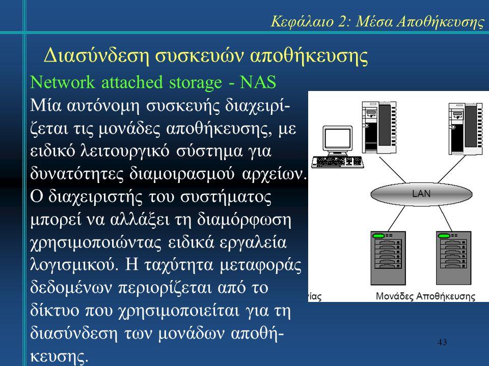 43 Κεφάλαιο 2: Μέσα Αποθήκευσης Διασύνδεση συσκευών αποθήκευσης Network attached storage - NAS Μία αυτόνομη συσκευής διαχειρί- ζεται τις μονάδες αποθή