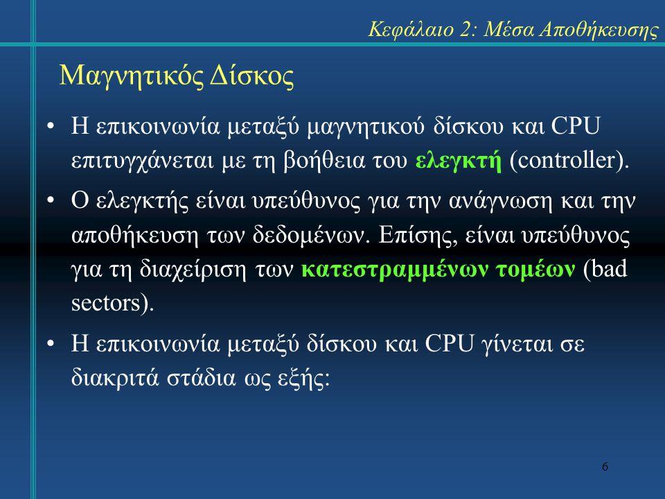 6 Κεφάλαιο 2: Μέσα Αποθήκευσης •Η επικοινωνία μεταξύ μαγνητικού δίσκου και CPU επιτυγχάνεται με τη βοήθεια του ελεγκτή (controller). •Ο ελεγκτής είναι