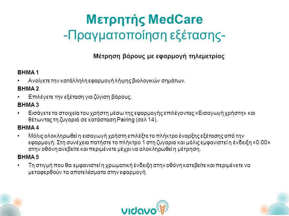 Μετρητής MedCare -Πραγματοποίηση εξέτασης- Μέτρηση βάρους με εφαρμογή τηλεμετρίας ΒΗΜΑ 1 •Ανοίγετε την κατάλληλη εφαρμογή λήψης βιολογικών σημάτων.