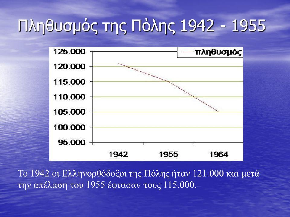 Πληθυσμός της Πόλης 1942 - 1955 Το 1942 οι Ελληνορθόδοξοι της Πόλης ήταν 121.000 και μετά την απέλαση του 1955 έφτασαν τους 115.000.