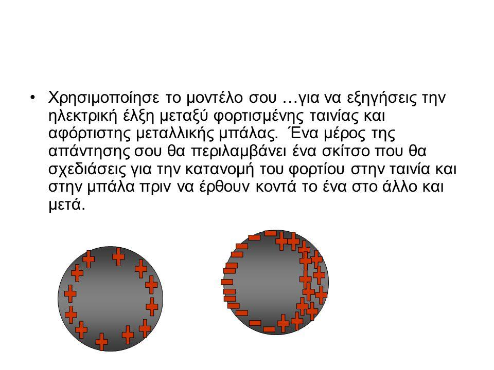 •Χρησιμοποίησε το μοντέλο σου …για να εξηγήσεις την ηλεκτρική έλξη μεταξύ φορτισμένης ταινίας και αφόρτιστης μεταλλικής μπάλας. Ένα μέρος της απάντηση