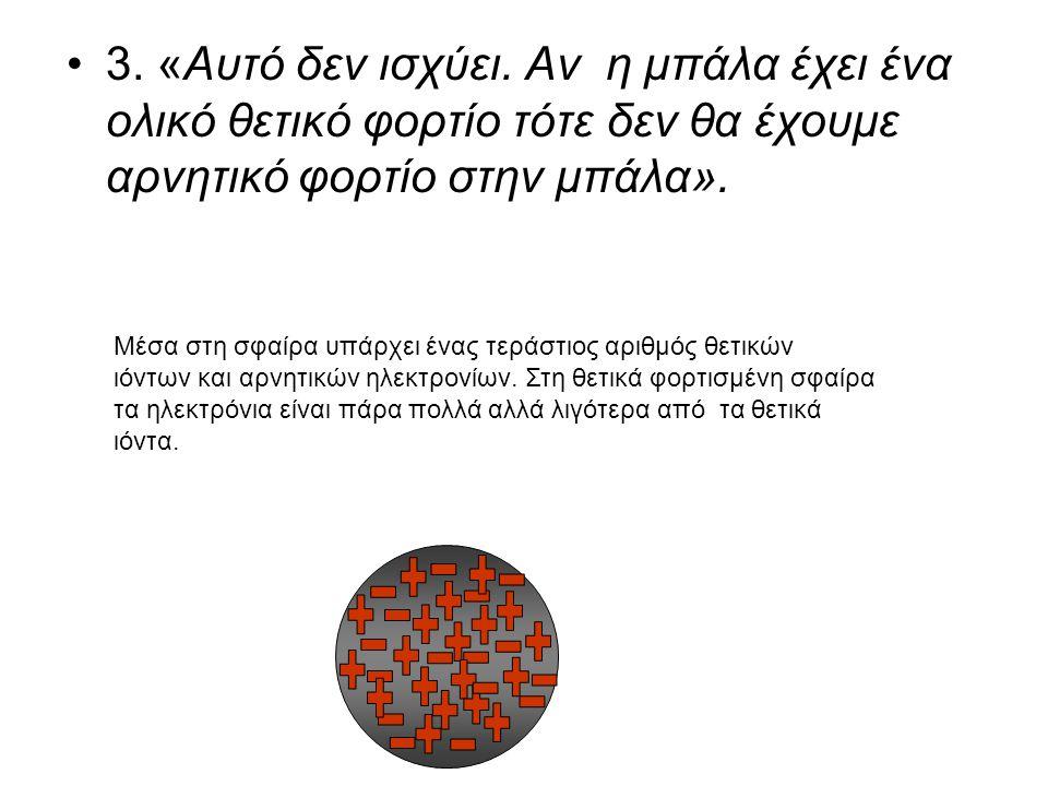 •3. «Αυτό δεν ισχύει. Αν η μπάλα έχει ένα ολικό θετικό φορτίο τότε δεν θα έχουμε αρνητικό φορτίο στην μπάλα». Μέσα στη σφαίρα υπάρχει ένας τεράστιος α