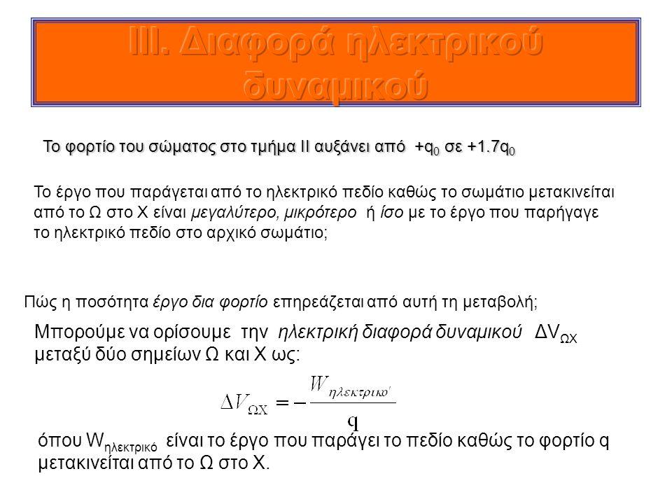 Το φορτίο του σώματος στο τμήμα ΙΙ αυξάνει από +q 0 σε +1.7q 0 Το έργο που παράγεται από το ηλεκτρικό πεδίο καθώς το σωμάτιο μετακινείται από το Ω στο