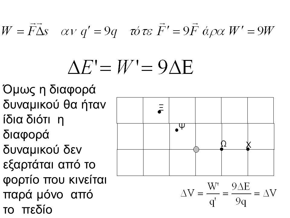 Όμως η διαφορά δυναμικού θα ήταν ίδια διότι η διαφορά δυναμικού δεν εξαρτάται από το φορτίο που κινείται παρά μόνο από το πεδίο Ξ Ψ Ω Χ