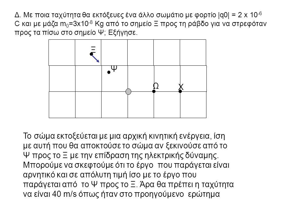Δ. Με ποια ταχύτητα θα εκτόξευες ένα άλλο σωμάτιο με φορτίο  q0  = 2 x 10 -6 C και με μάζα m 0 =3x10 -8 Kg από το σημείο Ξ προς τη ράβδο για να στρεφό