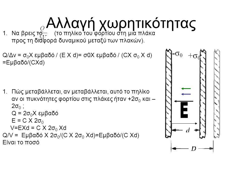 Αλλαγή χωρητικότητας 1.Να βρεις το (το πηλίκο του φορτίου στη μια πλάκα προς τη διαφορά δυναμικού μεταξύ των πλακών). Q/Δv = σ 0 Χ εμβαδό / (Ε Χ d)= σ