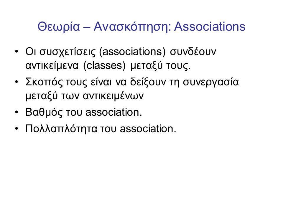 Θεωρία – Ανασκόπηση: Associations •Οι συσχετίσεις (associations) συνδέουν αντικείμενα (classes) μεταξύ τους. •Σκοπός τους είναι να δείξουν τη συνεργασ