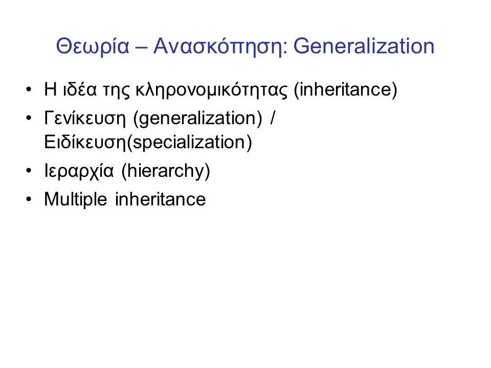 Θεωρία – Ανασκόπηση: Generalization •Η ιδέα της κληρονομικότητας (inheritance) •Γενίκευση (generalization) / Ειδίκευση(specialization) •Ιεραρχία (hier