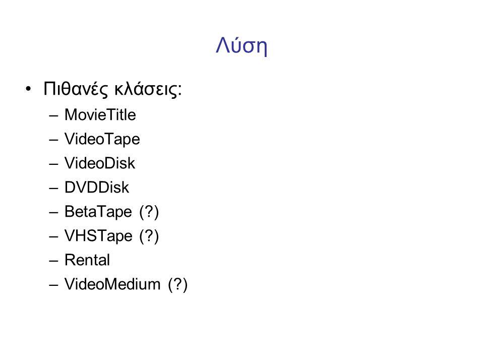 Λύση •Πιθανές κλάσεις: –MovieTitle –VideoTape –VideoDisk –DVDDisk –BetaTape (?) –VHSTape (?) –Rental –VideoMedium (?)