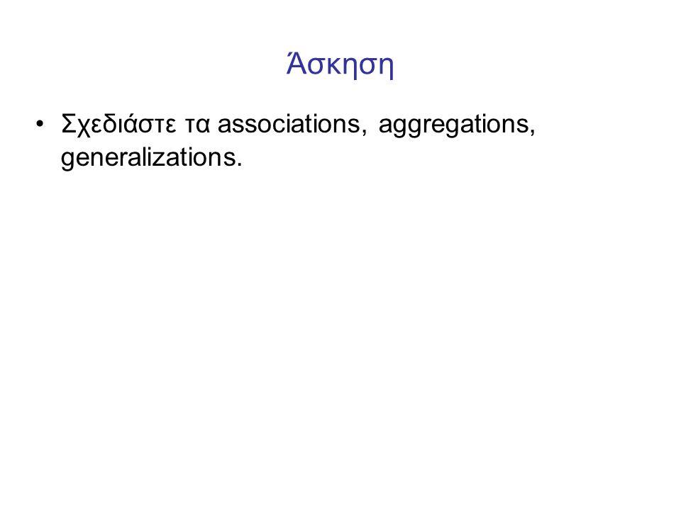Άσκηση •Σχεδιάστε τα associations, aggregations, generalizations.