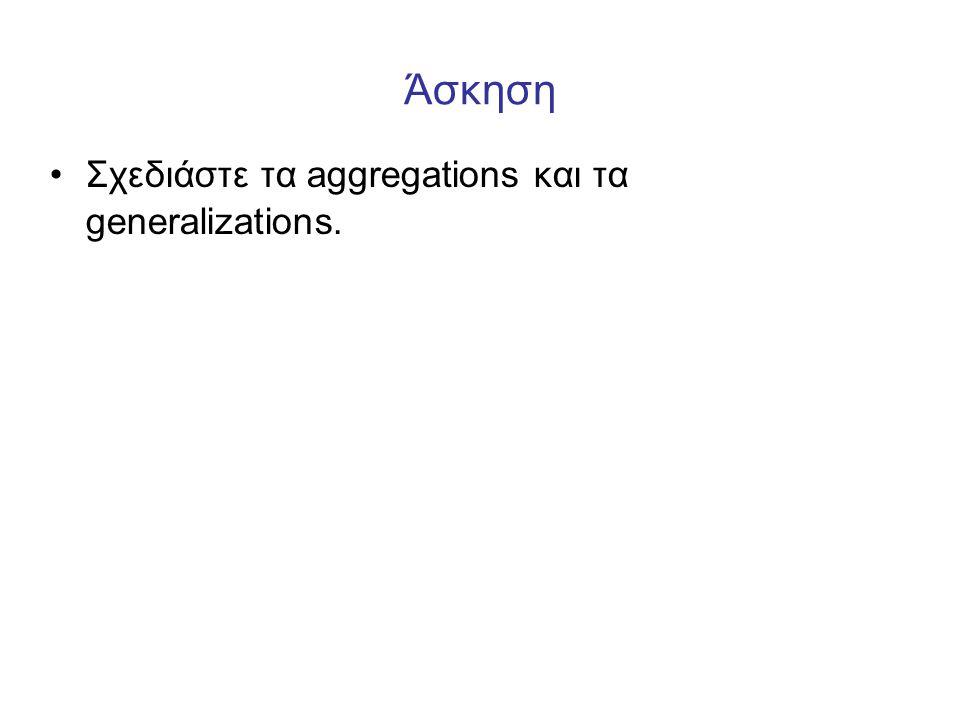 Άσκηση •Σχεδιάστε τα aggregations και τα generalizations.
